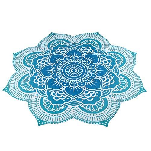 Oyedens Mandala Playa Piscina Home Toalla de Ducha (Manta Mantel Esterilla de Yoga, Azul, 150 cm