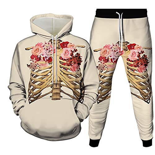 URVIP Unisex 3D-Bedruckter Hoodie Zweiteiliges Set Halloween-Skelett Trainingsanzüge Kapuzenpullover Jogger Gym Sport Sweat Anzug Hosen Outfits Colour-03 XL