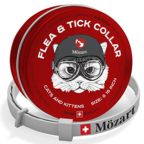 Flea and Tick Collar for Cats and Small Dogs - Swiss Quality - Safe & Eco-Friendly - Hypoallergenic Natural Essential Oils - Flea Tick Mosquito Prevention Pets - 6 Month Protection (1C)