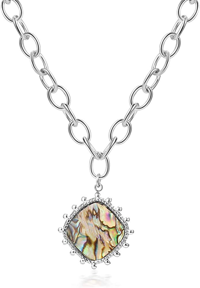 GANADARA Abalone Fixed Max 61% OFF price for sale Shell Pendant Necklace St Stainless - Women