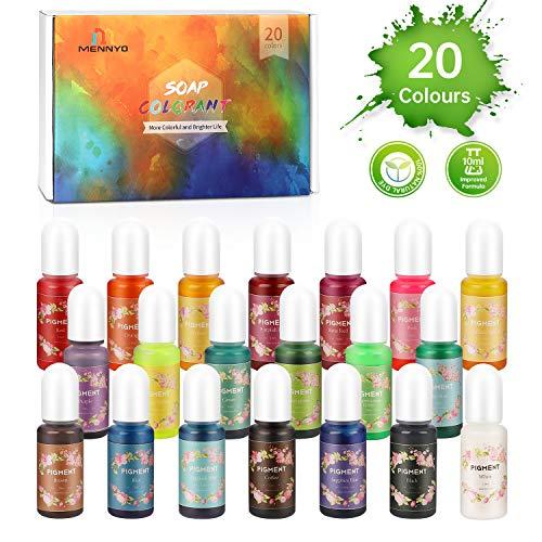 Pigmento para Resina Epoxi, Colorante Jabones 10ml*20 Colores - MENNYO Tinte natural líquido para Kit Hacer Velas, Fabrica Slime, Bomba de Baño, Pintura, DIY Manualidades