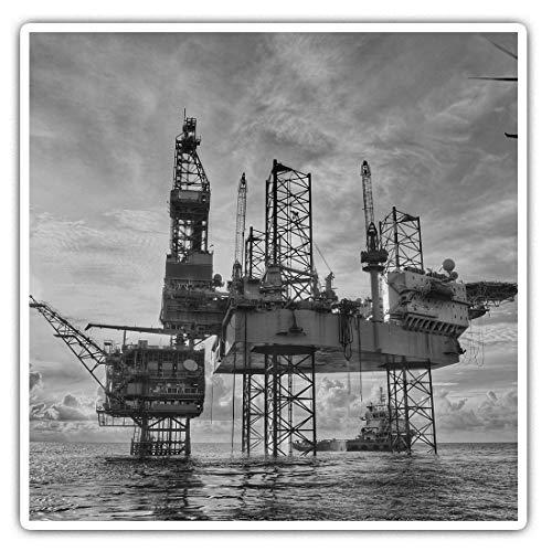Impresionantes pegatinas cuadradas (juego de 2) 7,5 cm BW – plataforma de aceite de gas offshore calcomanías divertidas para portátiles, tabletas, equipaje, reserva de chatarras, neveras, regalo genial #36588