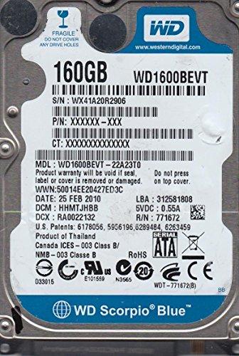 WD1600BEVT-22A23T0, DCM HHMTJHBB, Western Digital 160GB SATA 2.5 Festplatte