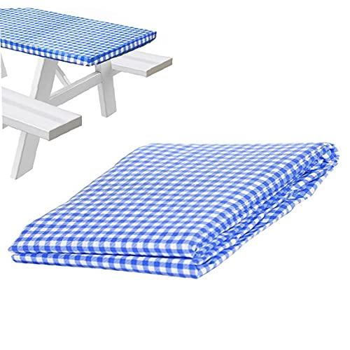 Tavola da picnic da picnic in vinile in vinile da tavoletta in vinile blu elastico Blue Shield24x48inch, tovaglia a scacchi