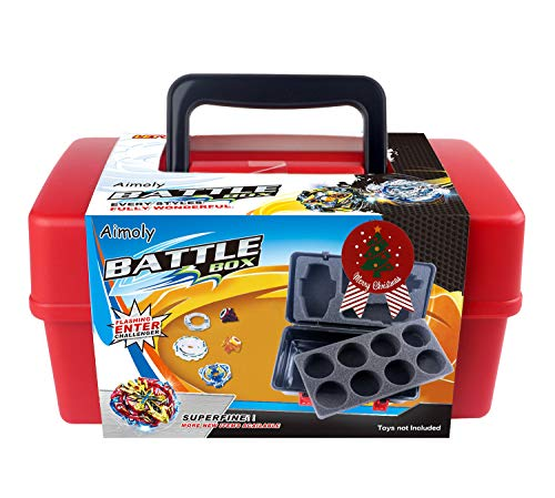 Aimoly Battle Tops Case, Storage Carrying Box Storage Box for Beyblade Burst Toys (red)