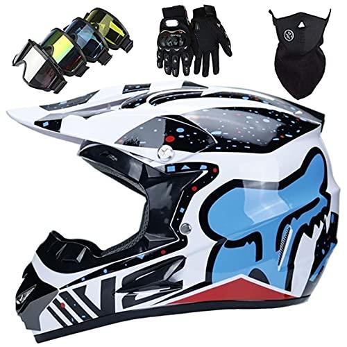 Casco MTB Completa, Casco Motocross para Niños con Gafas/Guantes/Máscara, Casco Motociclistas para Adultos y Jóvenes para Enduro de Descenso Moto de Cross ATV - con Diseño Zorro - Copo Nieve Blanco