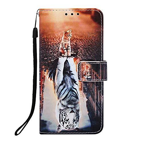 Veapero Kompatibel für Hülle Samsung Galaxy A10/M10 Hülle Handyhülle Schutzhülle Wallet Hülle Tasche PU Leder Handyschale Brieftasche Flipcase Kartenfach Stand Magnetische,Katze und Tiger
