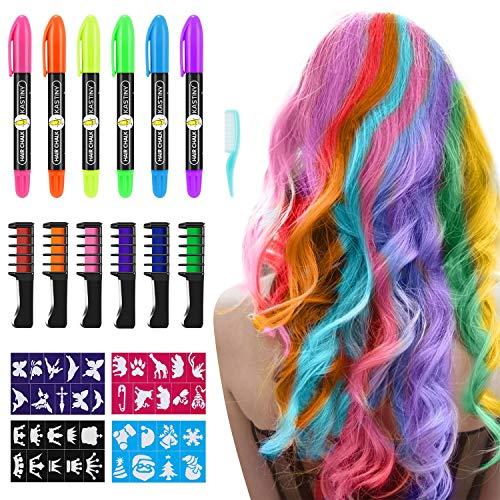 Haarkreide für Kinder, Kastiny 6 Haare Kreide Stifte & 6 Farbe Haarkreide Kamm, Temporär Haarfarbe Kreide Kamm für Mädchen, Haarkreide Auswaschbar Party mit 32 Aufkleber