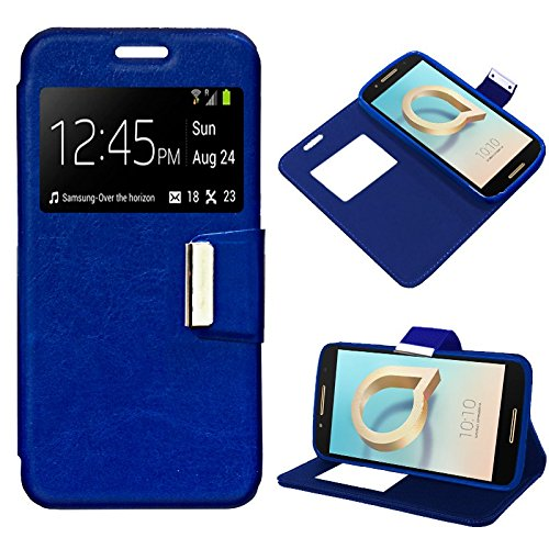 iGlobalmarket Alcatel A7, Funda con Tapa, Apertura Lateral Tipo Libro, Cuero PU, Color Azul