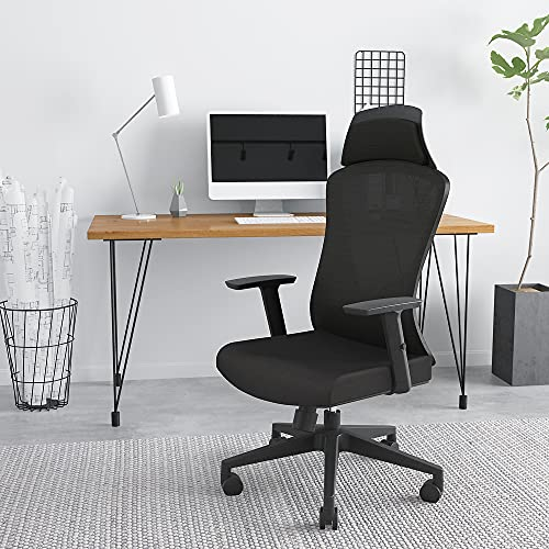 MOSUN High Back Ergonomic Office Chair - Breathable Mesh Task Chair with Lumbar Support, Adjustable Headrest and Armrest, Comfortable Sponge Seat Cushion, Big and Tall Reclining Home Office Desk Chair