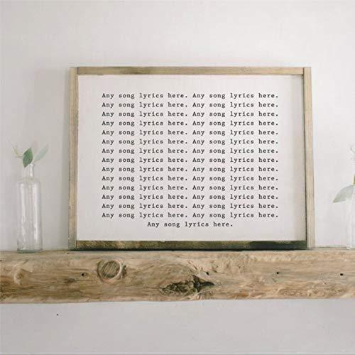 Letrero de madera con diseño de letra de canción personalizada, estilo rústico y placa de madera para el hogar, jardines, porche, cafeterías.
