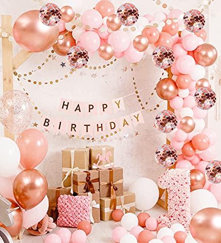 Vivuzono Balloon Garland Kit Balloon Arch Kit 132 Pcs Pink Rose Gold White Confetti Balloons Big Balloons mix 16 ft long Decorations for Parties Wedding Baby Shower Graduation