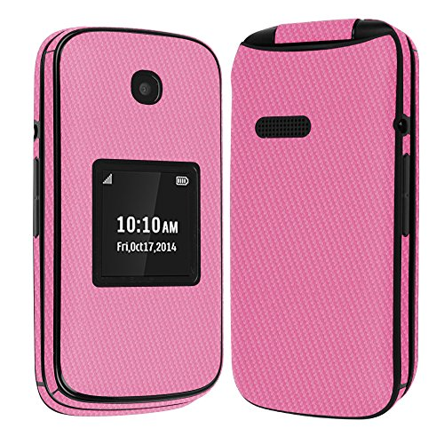Skinomi Pink Carbon Fiber Full Body Skin Compatible with Alcatel One Touch Retro (Full Coverage) TechSkin with Anti-Bubble Clear Film Screen Protector