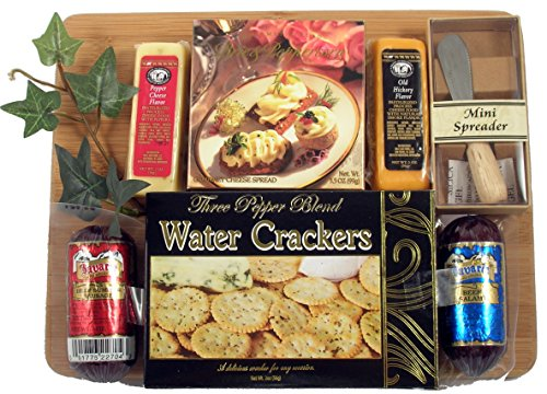 Gift Basket Village Board Of Directors - Meat & Cheese Gift Arranged On Bamboo Cutting Board With Sausage, Cheese And Crackers And A Spreader (Small)