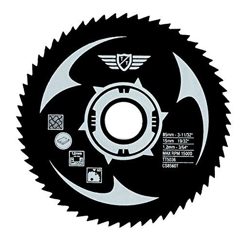 1 x TopsTools CS8560T HSS Kreissägeblätter mit 60 Zähnen 85mm Außendurchmesser, 15mm Innendurchmesser geeignet für Geräte von Worx, Bosch, Makita, Ryobi, Rockwell und vielen anderen