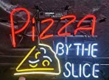 LeeQueen Sense 17inx14in Pizza by The Slice Neon Sign Light Man Cave Bar Pub Beer Handcrafted Home Wall Decor Lamp KA33