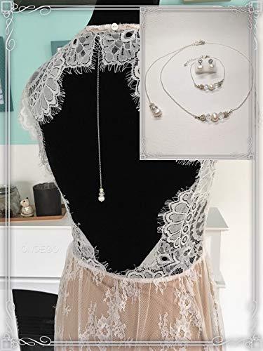 Zuchtperlen Silber 925 Schmuckset Brautschmuck Perlen Rückenkette Ivory Handmade dezent elegant Brautjungfer Geschenk