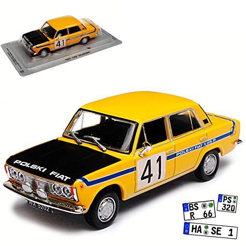 Unbekannt FIAT Polski 125P Rallye Rennwagen Limousine Gelb Baugleich FSO 125P 1967-1991 1/43 Modellcarsonline Modell Auto mit individiuellem Wunschkennzeichen