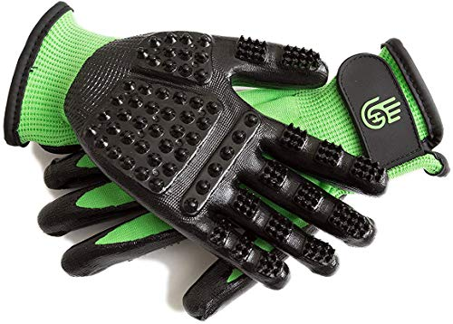 HandsOn Pet Grooming Gloves - #1 Ranked, Award Winning Shedding, Bathing, & Hair Remover Gloves for Cats, Dogs, and Horses (Green / Black, Small)