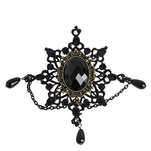 lijun Encaje Negro Copo de Nieve Aleación de Piedra Broche de Nieve Pin Breastpin Accesorio de Dama gótica