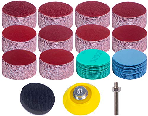 240 Pcs Sanding Discs 50mm,2 Inch Velcro Sanding Pads with 1 Pc 1/4 Inch Shank Backing Pad and 1 Pc Soft Foam Buffering Pad 60 80 120 180 240 320 400 600 800 1000 2000 3000 Grit