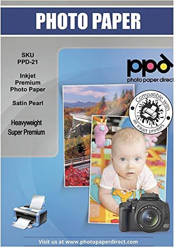 PPD 100 Blatt x A4 PREMIUM Inkjet 280 g/m2 Fotopapier Seidenglänzend Mikroporös Sofort trocknend und wasserfest - Profiqualität - DIN A4 x 100 Blatt PPD-21-100