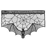 BESTOYARD Halloween Kamin Tuch Dekor Fledermaus Spinnennetz Spitze Ofen Tuch für Wohnzimmer Kamin (schwarz)