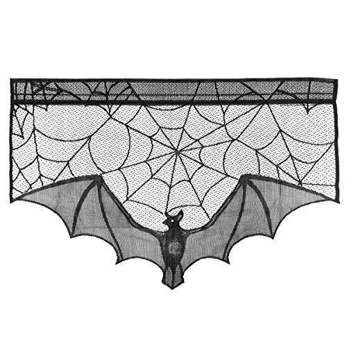 Amosfun Halloween Gruselige Tuch Dekoration Black Bat Lace Spiderweb Kamin Mantel Schal Cover Spiderweb Dekoration Halloween Geschenke für Freunde