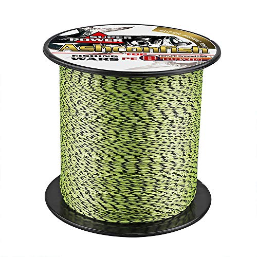 Ashconfish Braided Fishing Line- 8 Strands Super Strong PE Fishing Wire Heavy Tensile for Saltwater & Freshwater Fishing -Abrasion Resistant - Zero Stretch- 300M/328Yards 40LB Black and Yellow
