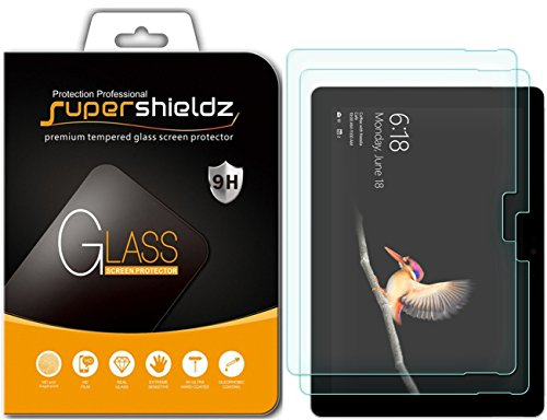 (2 Pack) Supershieldz for Microsoft Surface Go Screen Protector, (Tempered Glass) 0.33mm, Anti Scratch, Bubble Free