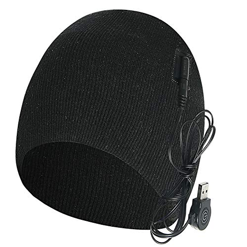WOOPOWER Electric Warm Heated Hat, Winter Knit Skull Beanie Solid Rechargeable Heated Hat Black