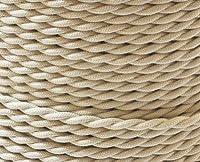 FSliving 50m オフホワイト DIY 2コアツイストコード 配線 コード ケーブル ニット線 ランプシャンデリア ツイスト線 複芯電線 エジソン復古電球電線