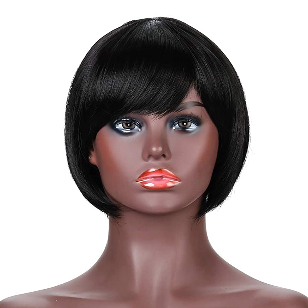 モチーフライフルぞっとするような女性用ナチュラルブラックショートカーリーヘアウィッグ前髪リアル人毛ウィッグ合成フルヘアウィッグ女性用ハロウィンコスプレパーティーウィッグ