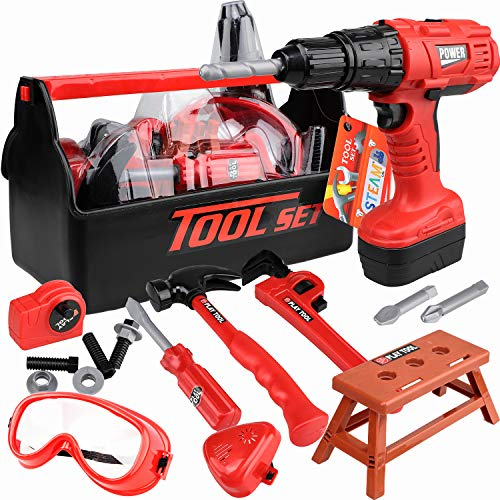 STEAM Life Kids Tool Set with Power Toy Drill - Toy Tool Set Contains Tool Box and Toy Hammer, Goggles, Power Drill and 11 More Play Tools (Red)