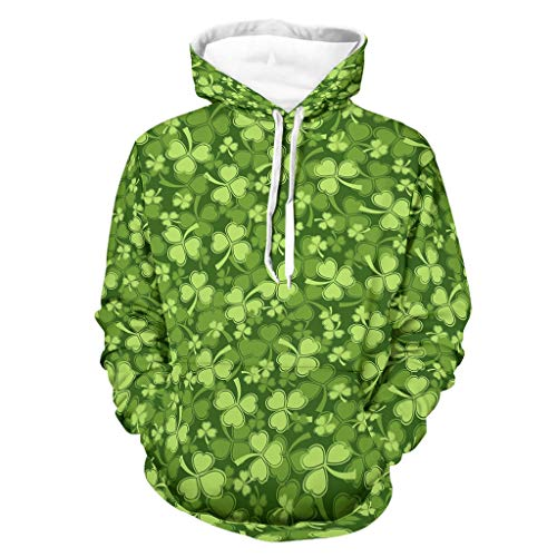 Shinelly Sudadera con capucha para hombre, diseño de trébol irlandés verde de St. Patrick, divertida, manga larga, con bolsillos blanco XL