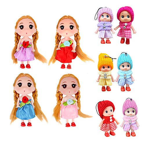 10pcs Tiny Dolls, Wonderful Miniature Doll with, Baby Doll Keychain with Miniature, Lovely Mini Dolls for Girls, Decoration Little Dolls Christmas Festival Reborn Baby Stuff Gift-5In Dolls 3In Dolls