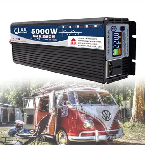 NLJY Inversor Conmutable De 12v 220v, Inversor De Automóvil, Convertidor De Voltaje De Onda Sinusoidal Pura De 3000w, Adecuado para Automóviles, Automóviles con Paneles Solares,5000W-12V