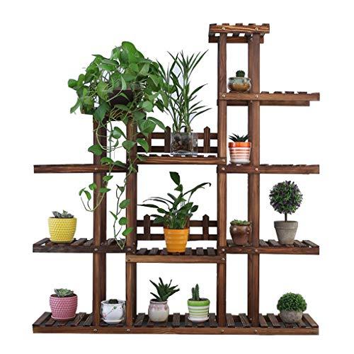 5 échelle en bois fleurs Stand jardin Patio balcon plante debout fleur pot Rack décoratif présentoir porte-pot de fleur étagère - intérieur/extérieur - brun foncé - L120 * D25 * H131cm - Idée cadeau