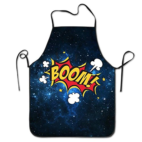 N\A Tablier Boom Yellow Star Print Tablier de Cuisine pour Tailgating BBQ Grill Pit Master Black