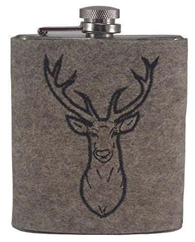 Fiaschetta in acciaio inox con custodia in feltro di lana 'Hirsch' chiara, fiaschetta tascabile in argento per grappa, bottiglia con supporto per coperchio, 190 ml e 100% feltro di lana, ideale come regalo, M: circa 13 x 9,5 x 2 cm