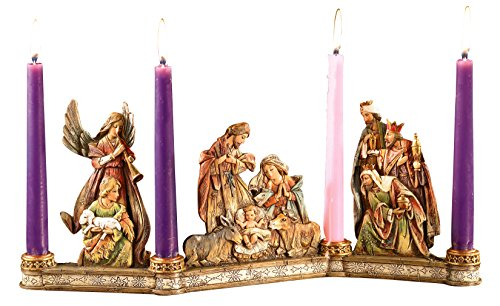 Avalon Gallery Advent Candleholder, Holy Family Nativity Scene