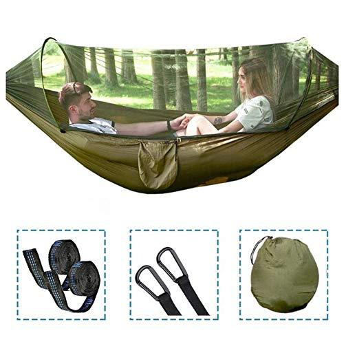 CTEGOOD Hamac moustiquaire 2 Personnes 300kg, hamac d'extérieur de Camping Respirant Portable avec 2 Sangles d'arbre et 2 mousquetons pour Jungle Explorer