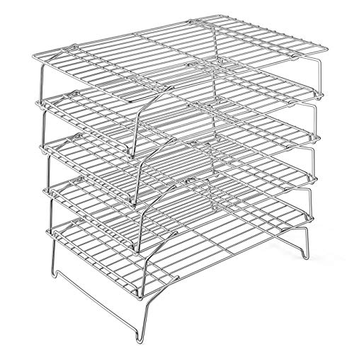 Cooling Rack, P&P CHEF 5-Tier Stainless Steel Stackable Baking Cooking Racks for Cooling Roasting Grilling, Collapsible & Heavy Duty, Oven & Dishwasher Safe – 15''x10''