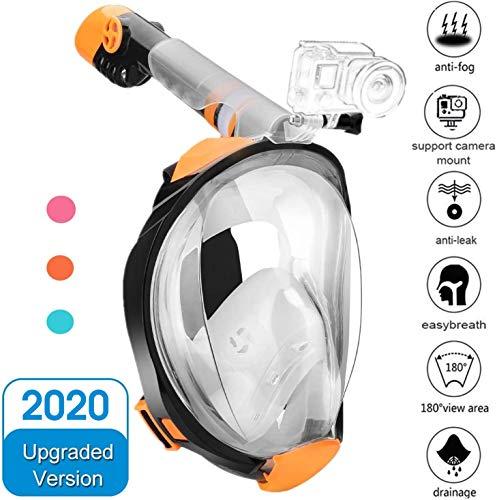 Numyton Schnorchelmaske Tauchmaske Vollgesichtsmaske mit 180° Sichtfeld und Kamerahaltung, Dichtung aus Silikon Anti-Fog und Anti-Leck Technologie für Erwachsene, S/M Orange/Transparent