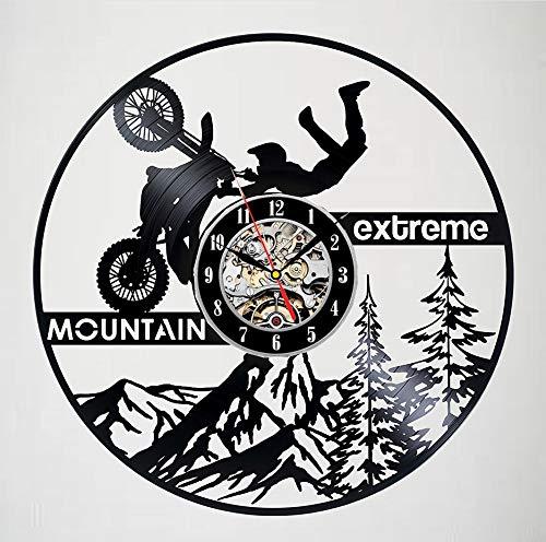 Knncch Horloge Murale Record en Vinyle Mountain Extreme Motorcycles Extreme - Décoration De Chambre