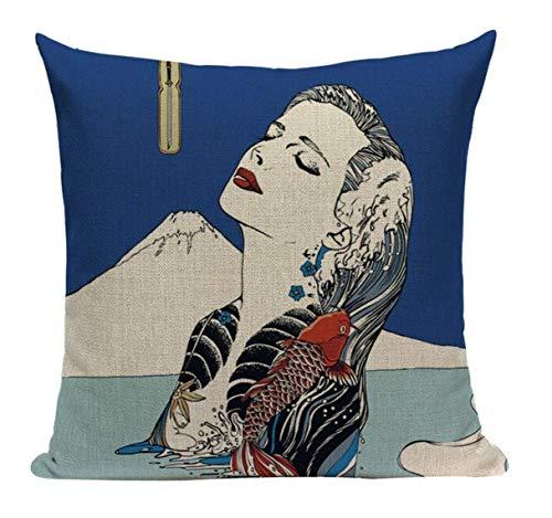 Lil Pepper Japanese Tattoo Geisha JP14 Cushion Pillow Cover Painting Japan Oriental Woman Asian Bathing