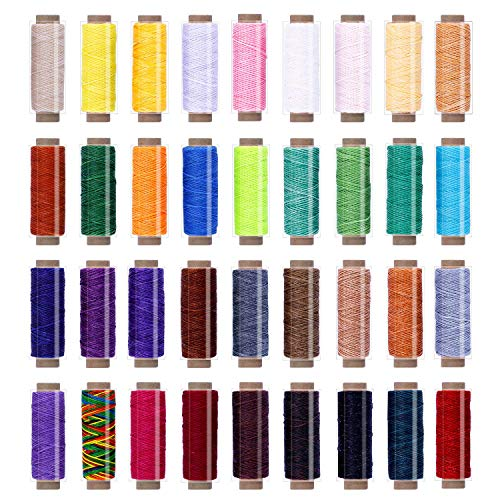 New 36 Colors Waxed Thread,1188Yards Colorful Leather Thread,33Yards Per Color, Leather Sewing Threa...