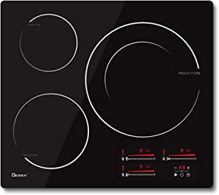 GIONIEN Plaque de cuisson à induction flexible - 59 cm - 3 zones de cuisson - Double élément de combustion - Technologie d...