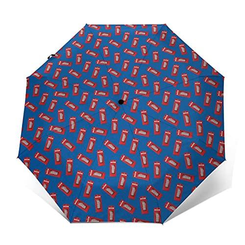 Paraguas Plegable Automático Impermeable Caja, Paraguas De Viaje Compacto a Prueba De Viento, Folding Umbrella, Dosel Reforzado, Mango Ergonómico