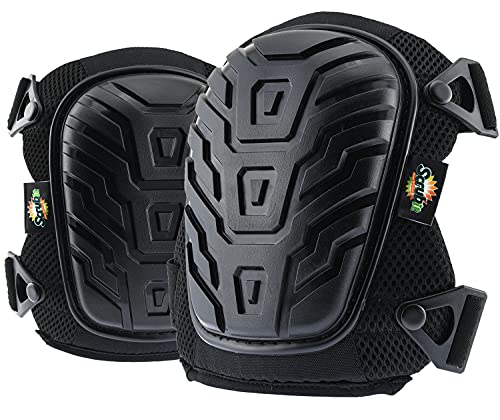 SCRUBIT Knee Pads for Work - Universal Fit for Men and Women - Professional Poly-Shield Knee Pads With Gel-Padded Cushion - Superior Knee Protector With Adjustable Buckle Closure and Non-Slip Straps